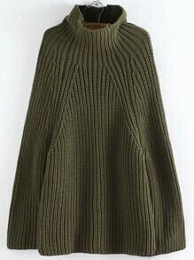 Jersey poncho extragrande con cuello vuelto - verde militar