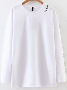 Sweat-shirt décontracté imprimé lettre -blanc