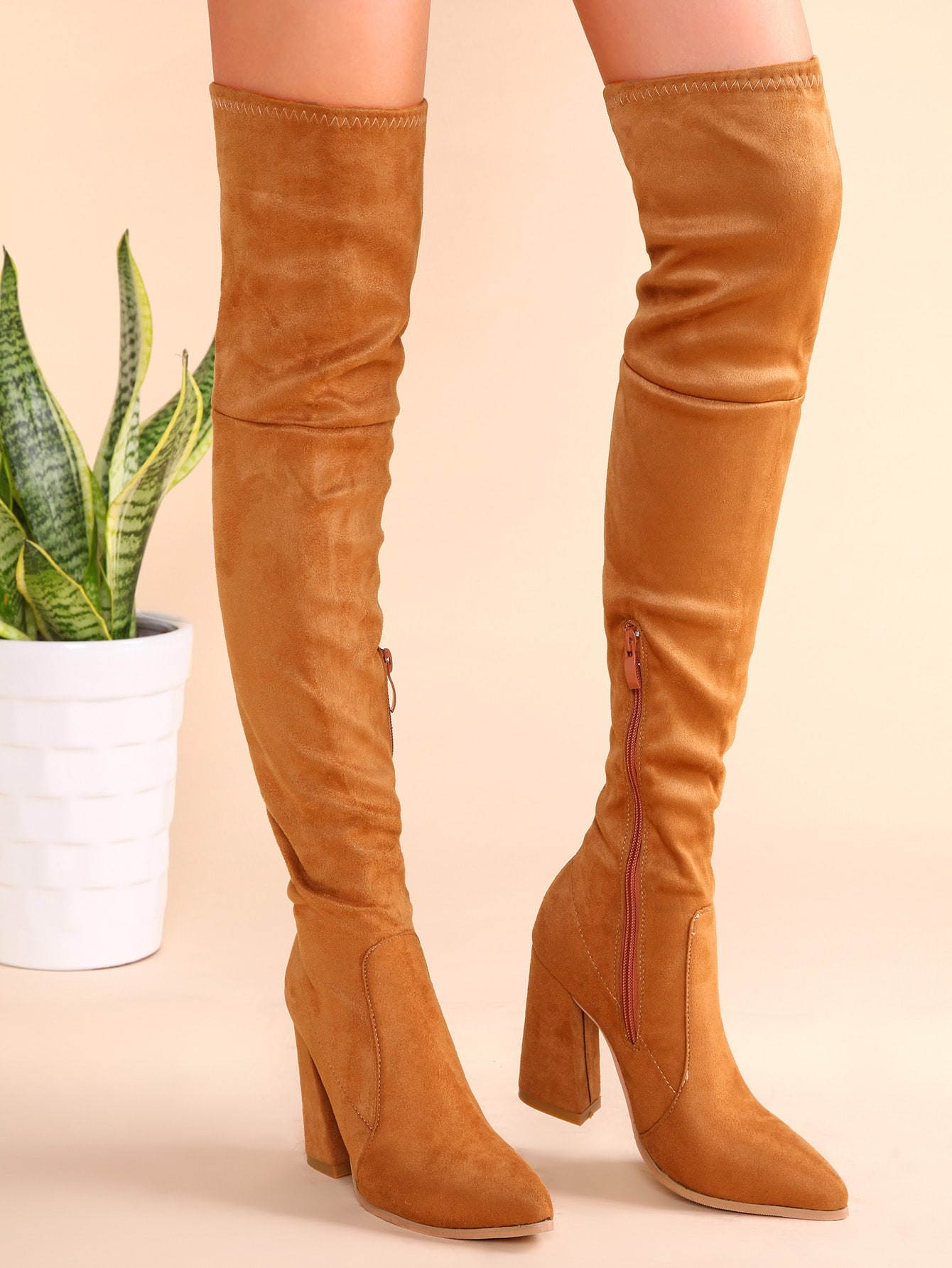 light brown point toe thigh high chunky heel suede boots