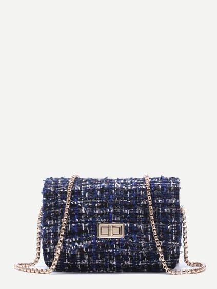 Royal Blue Woolen Box Bag With Chain Strap