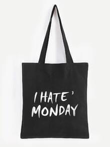 I Hate Monday Slogan Print Black Canvas Tote Bag