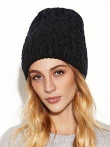 Black Knit Textured Beanie Hat