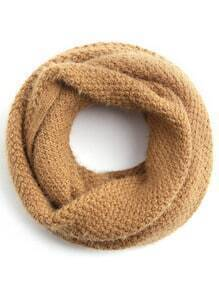 Camel Knit Textured Fluffy Infinity Scarf