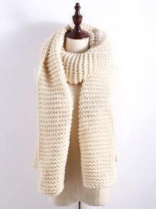 Écharpe longue tricot texturé -abricot