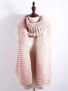Pink Chunky Knit Textured Long Scarf