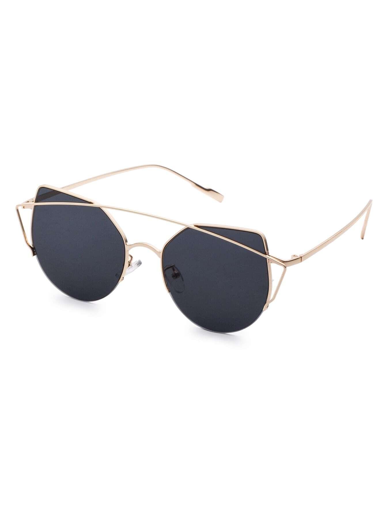 Black Cat Eye Sunglasses  gold frame double bridge black cat eye sunglasses