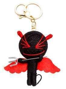 Porte-clés petit monstre personnalisé -rouge et noir