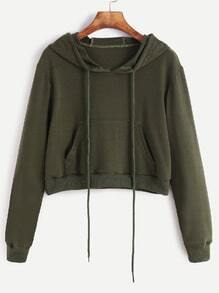 Army Green Drawstring Hooded Crop Sweatshirt With Pocket