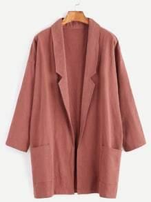 Dropped Shoulder Seam Shawl Collar Pockets Coat