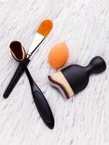 Black And Orange Makeup Brush Set With Blending Sponge