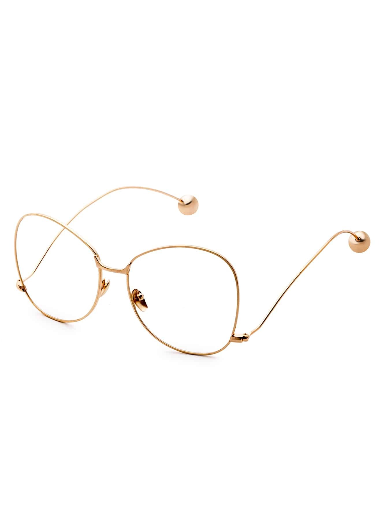Large Gold Frame Glasses : Gold Frame Large Lens Metal Ball Stylish Glasses