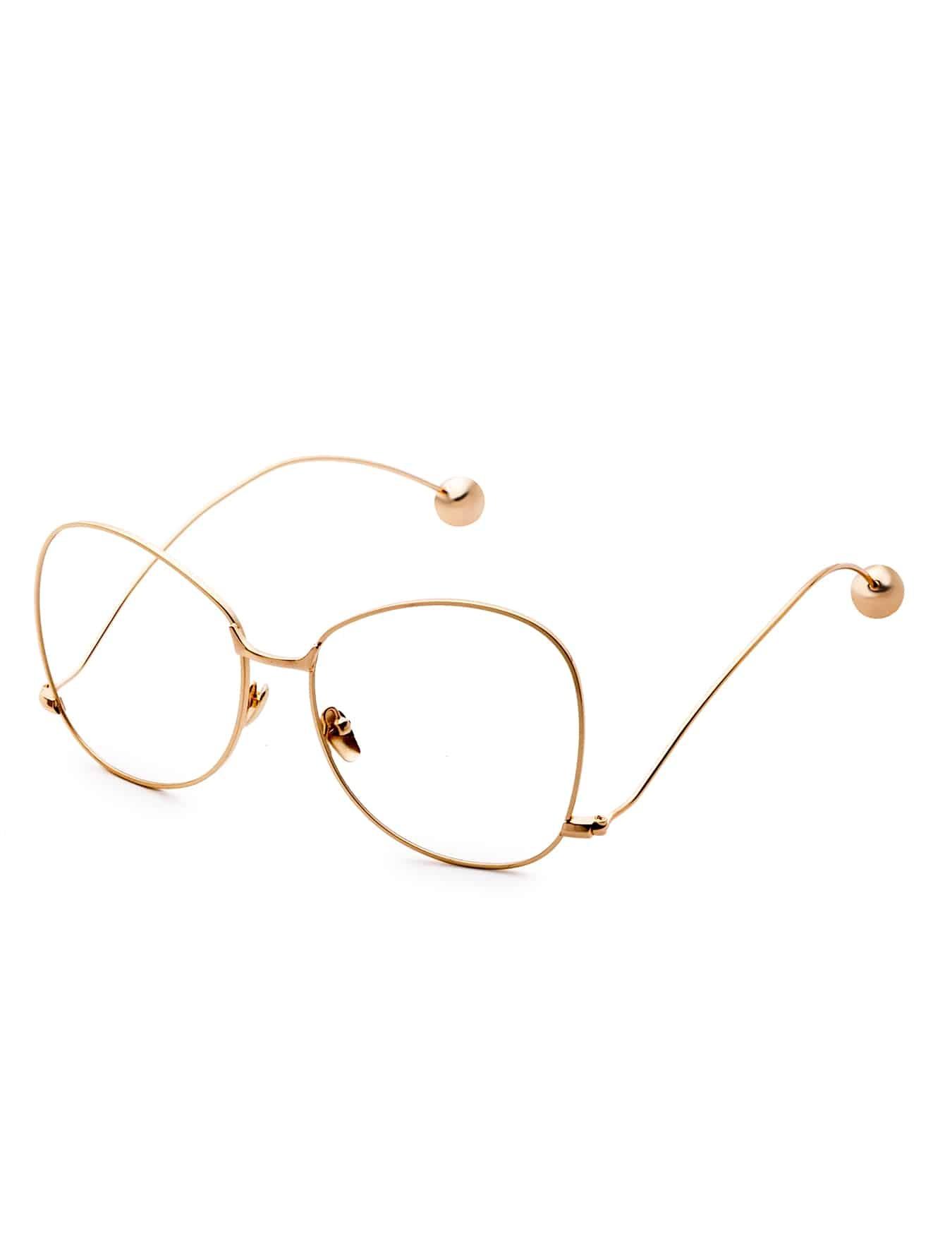Large Gold Frame Glasses : Gold Frame Large Lens Metal Ball Stylish Glasses