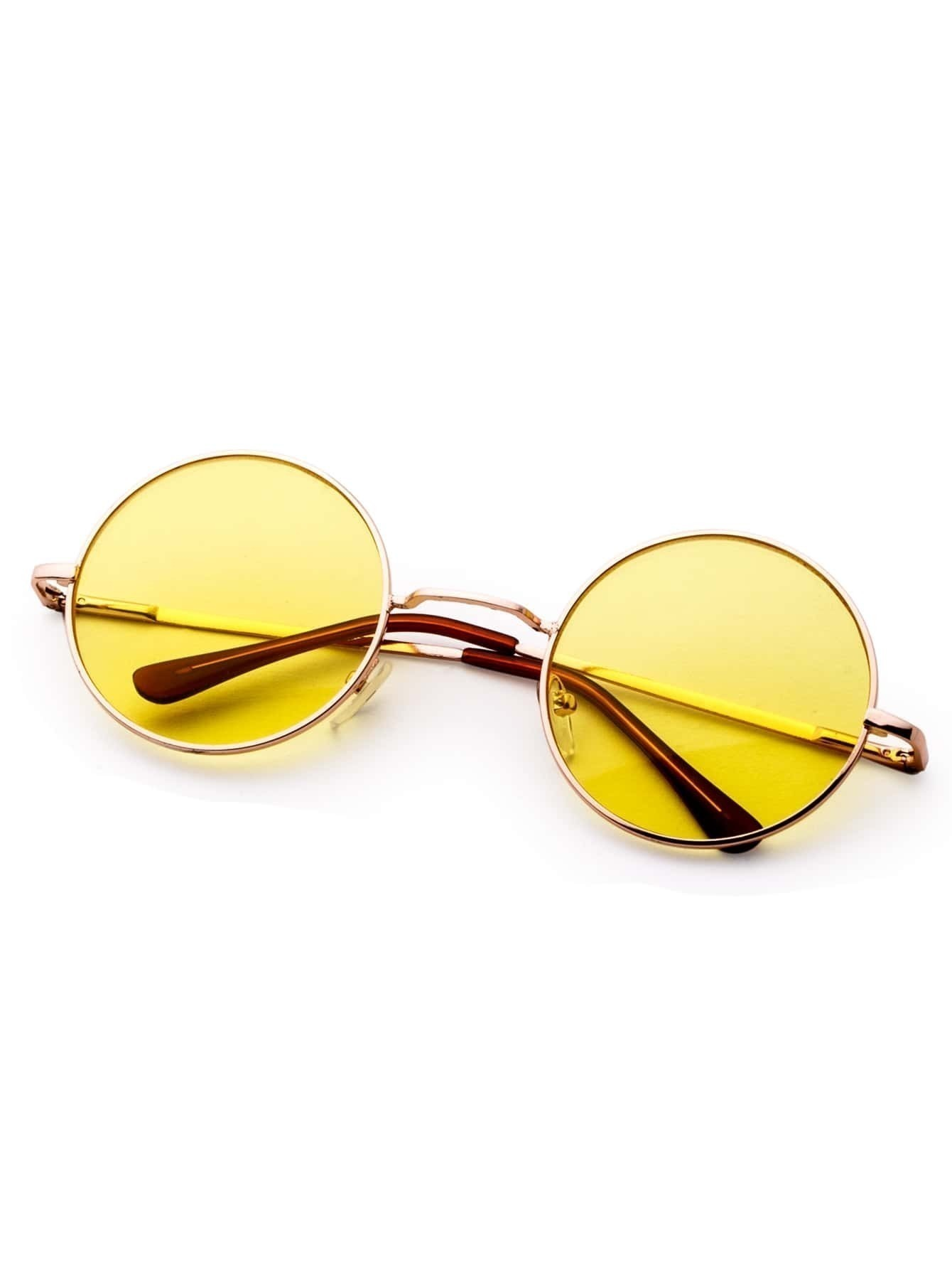 Lunettes de soleil r tro avec cadre en m tal et verre rond for Lunette de soleil avec verre miroir