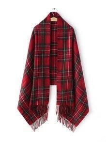 Echarpe écossais avec frange longue - rouge