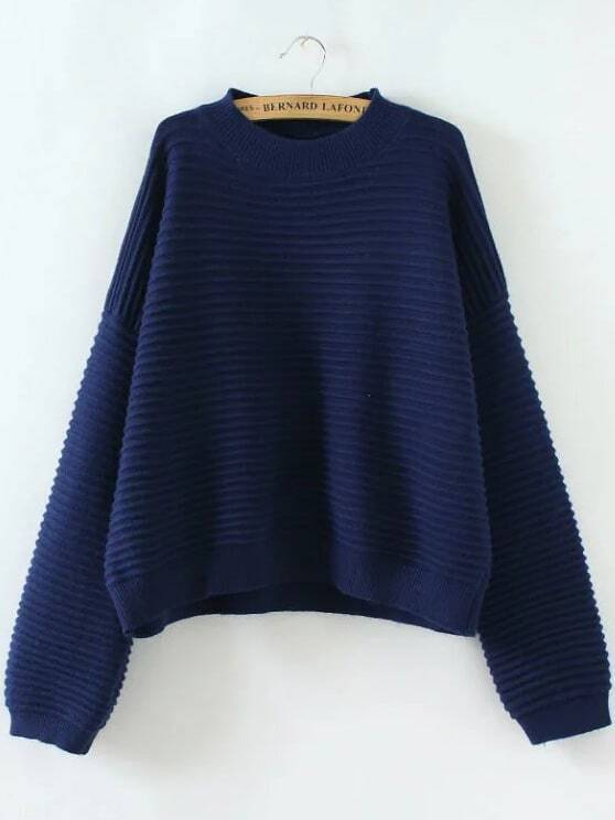 Navy Ribbed Drop Shoulder Loose Sweater