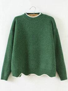 Jersey con cuello redondo y ribete festoneado - verde