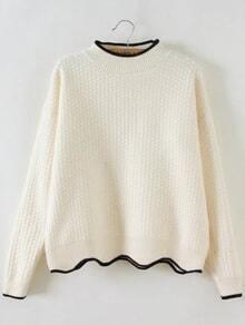 Jersey con cuello redondo y ribete festoneado - blanco