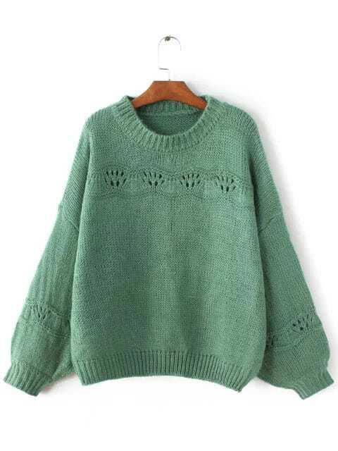 Green Ribbed Trim Lantern Sleeve Sweater