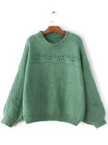 Pullover gerippte Saum Laterne Ärmel-grün
