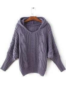 Purple Cable Knit Hooded Sweater