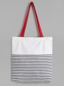 White Striped Canvas Tote Bag With Red Strap