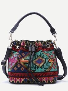 Multicolor Tribal Embroidered Bucket Bag With Convertible Strap