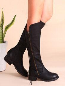 Black PU Almond Toe Side Zipper Knee Boots