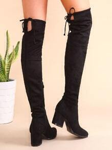 Botas de ante en punta con cordón y cremallera lateral - negro