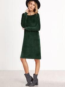 Kleid langarm Samt Schlitz Seitlich-dunkel grün