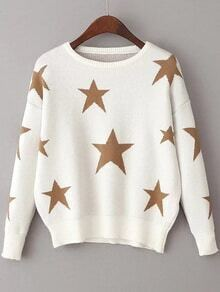 White Star Pattern Drop Shoulder Sweater