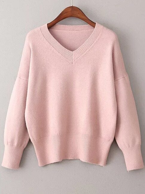 Pink V Neck Ribbed Trim Sweater sweater161111202