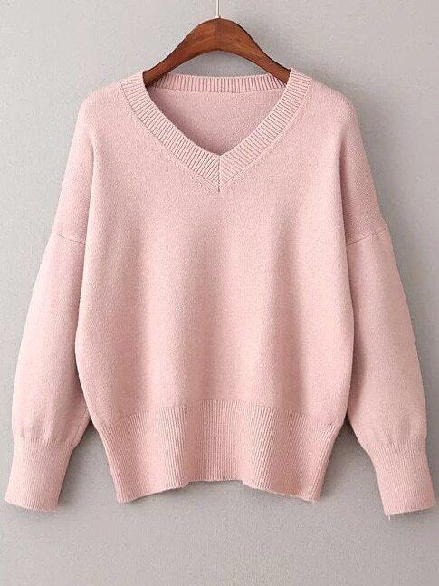 Pink V Neck Ribbed Trim Sweater