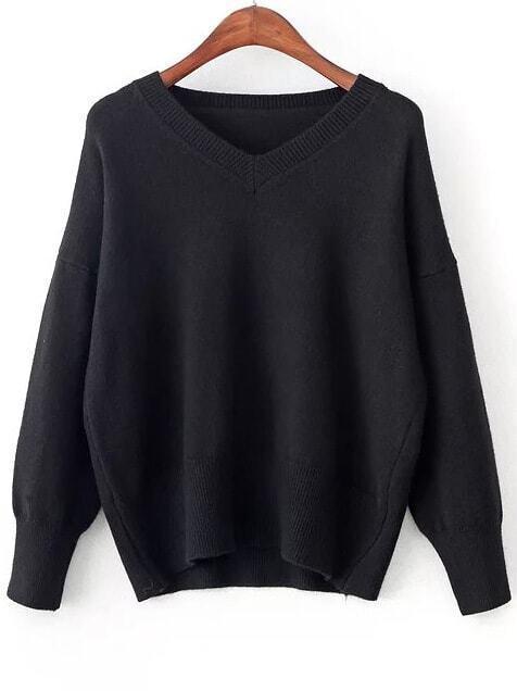 Black V Neck Ribbed Trim Sweater