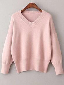 Jersey con escote V - rosa