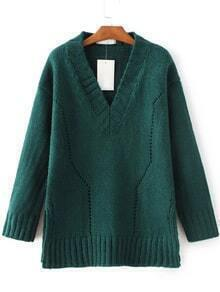 Green V Neck Side Slit Sweater
