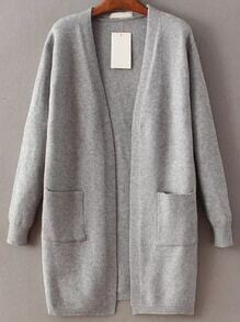Grey Open Front Long Cardigan With Pocket