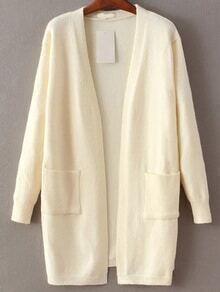 Cardigan longue ouverture devant avec poche -blanc