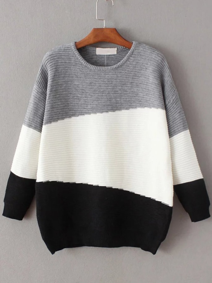 Color Block Ribbed Drop Shoulder Sweater sweater161111214