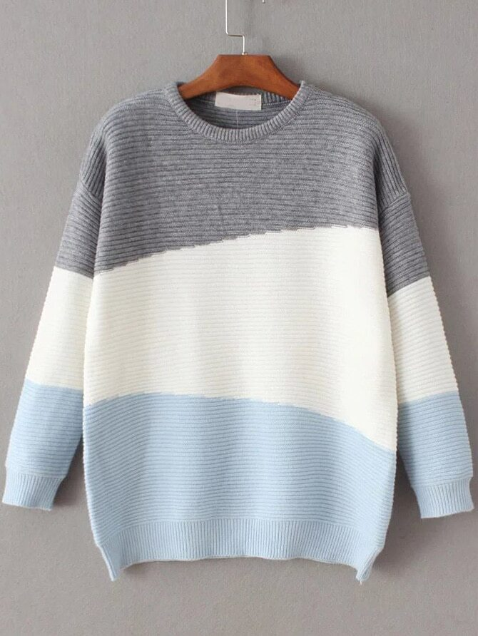 Color Block Ribbed Drop Shoulder Sweater sweater161111216