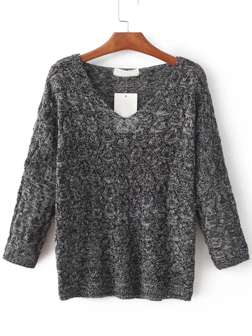 Dark Grey Hollow Out V Neck Knitwear