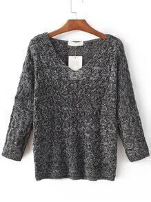 Dark Grey Hollow Out V Neck Knitwear