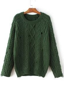 Jersey de punto trenzado y manga raglán - verde