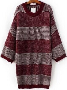 Red Striped Drop Shoulder Loose Sweater Dress