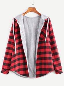 Red Check Plaid Pocket Hooded Blouse With Contrast Lining