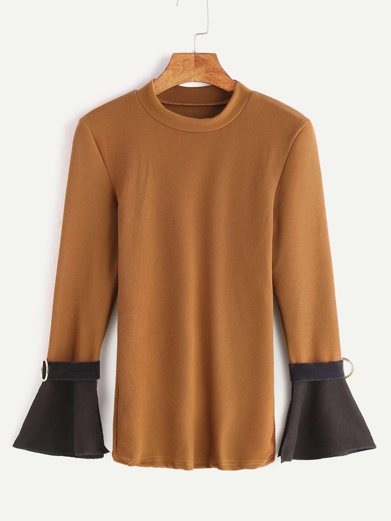 Khaki Contrast Bell Sleeve T Shirt With Belt Cufffor Women