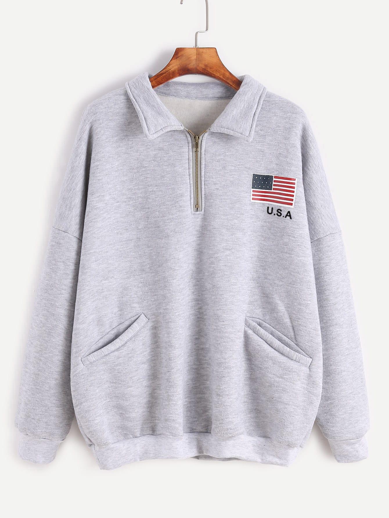 Grey American Flag Print Zip Detail Front Pocket Sweatshirt
