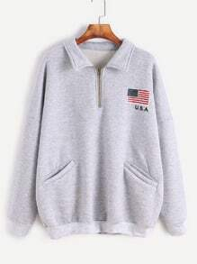 Grey American Flag Print Zip Detail Front Pocket Sweatshirt