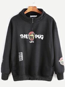Sweat-shirt imprimé carlin zip détail avec poches -noir