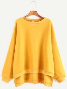 Sweat-shirt à l'épaule laissé  haut et bas couture -jaune