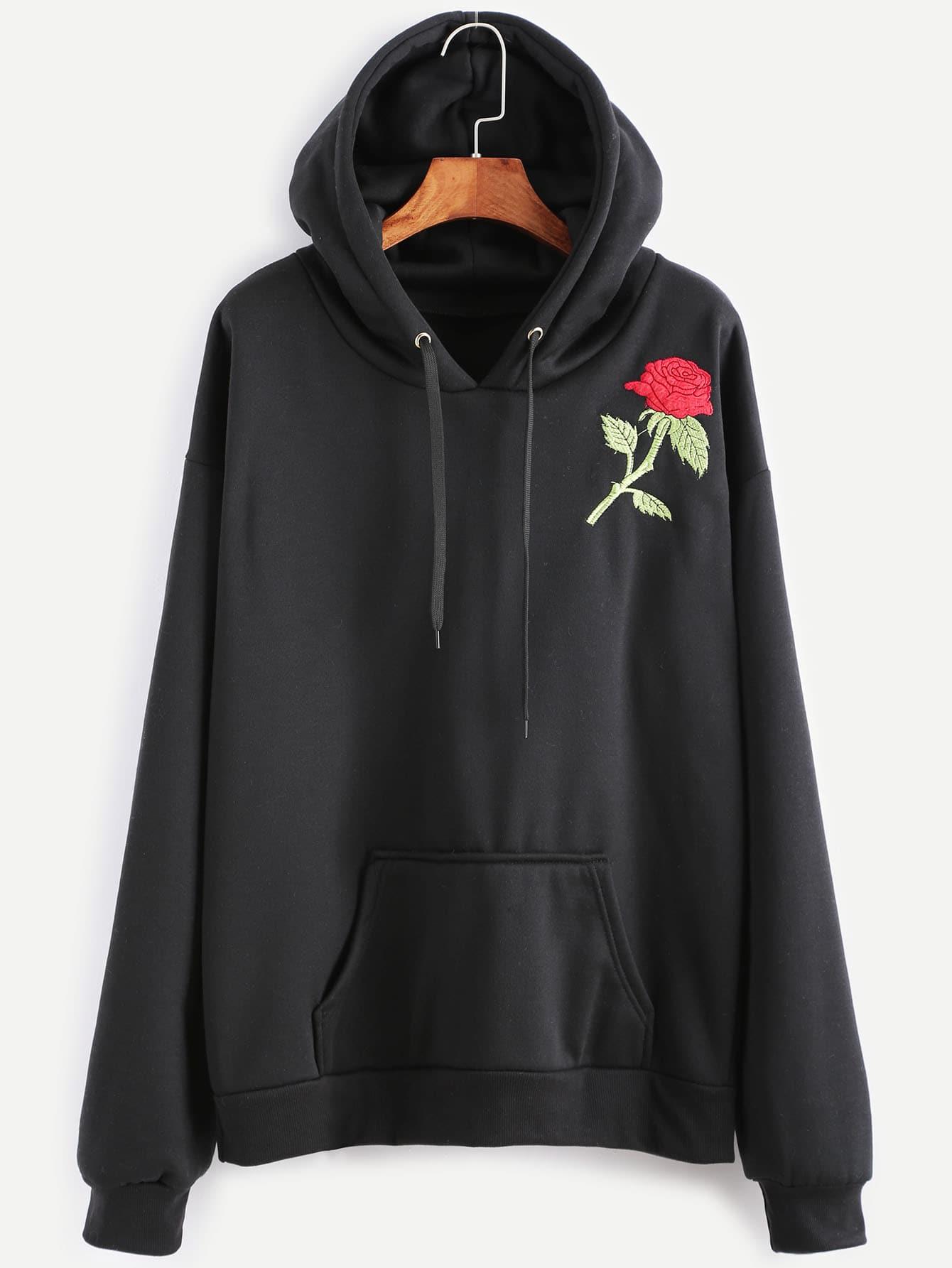 Black rose embroidery drawstring hooded pocket sweatshirt